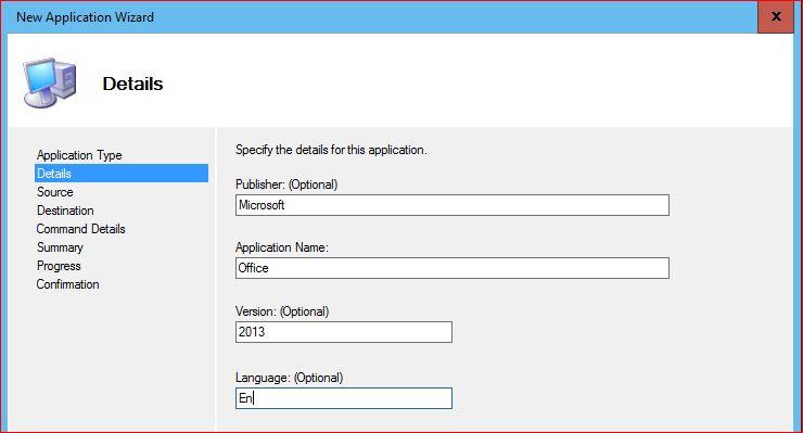 Application details
