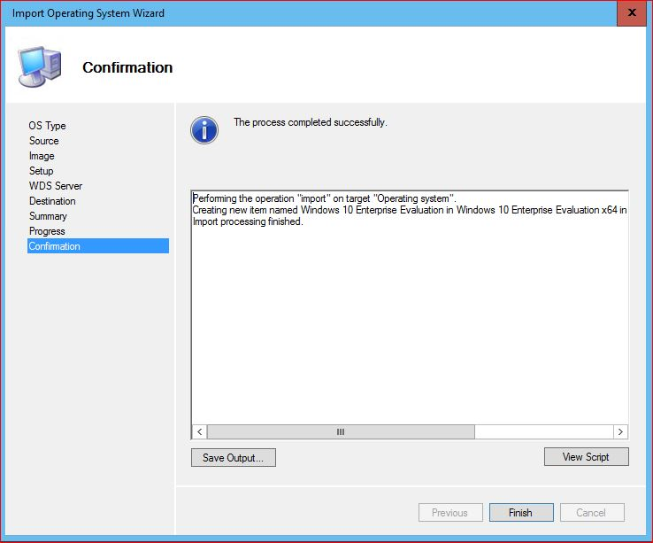 Import Operating System Confirmation