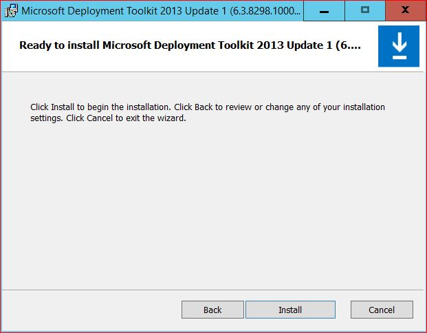 Ready to Install Microsoft Deployment Toolkit