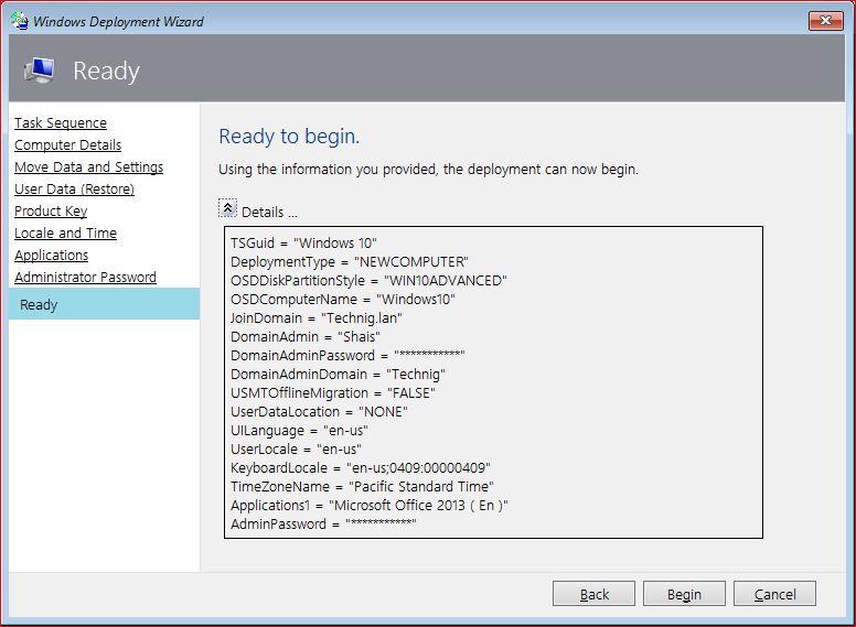 Ready to begin deploy Windows 10 using MDT