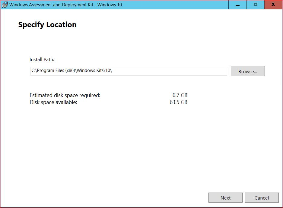 Specify Location for Windows ADK