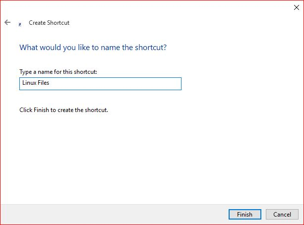 Type a name for Shortcut Link