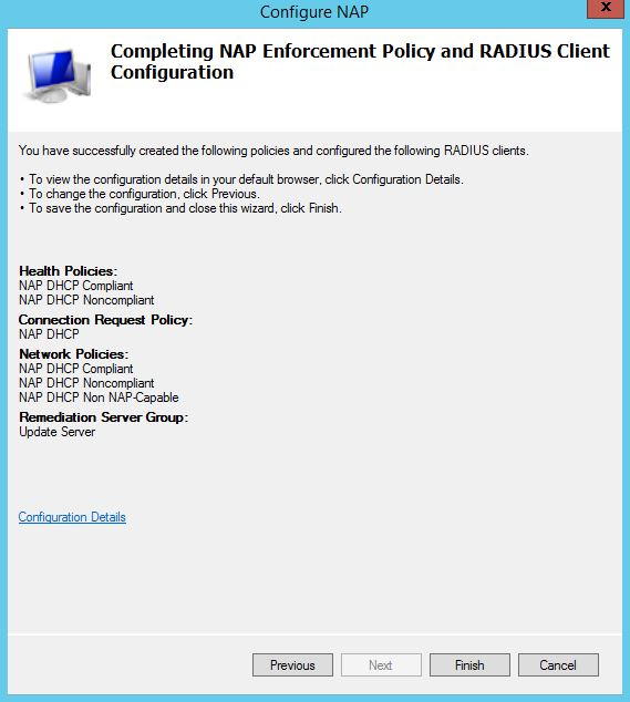 Completing NAP Enforcement Policy and RADIUS Client Configuration