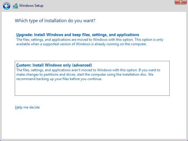 Custom Install Windows only (Advanced)