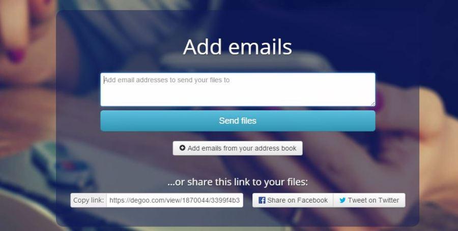Degoo Send File Option