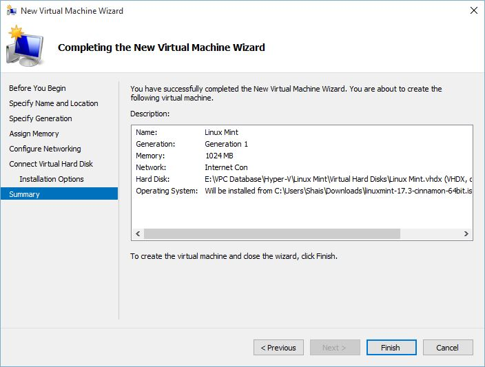 Completing the New Virtual Machine Wizard for Linux Mint