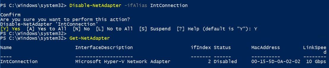 Disable Network Adapter with PowerShell