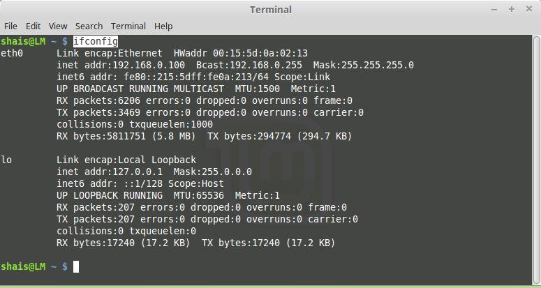 Linux Mint Interface Configuration
