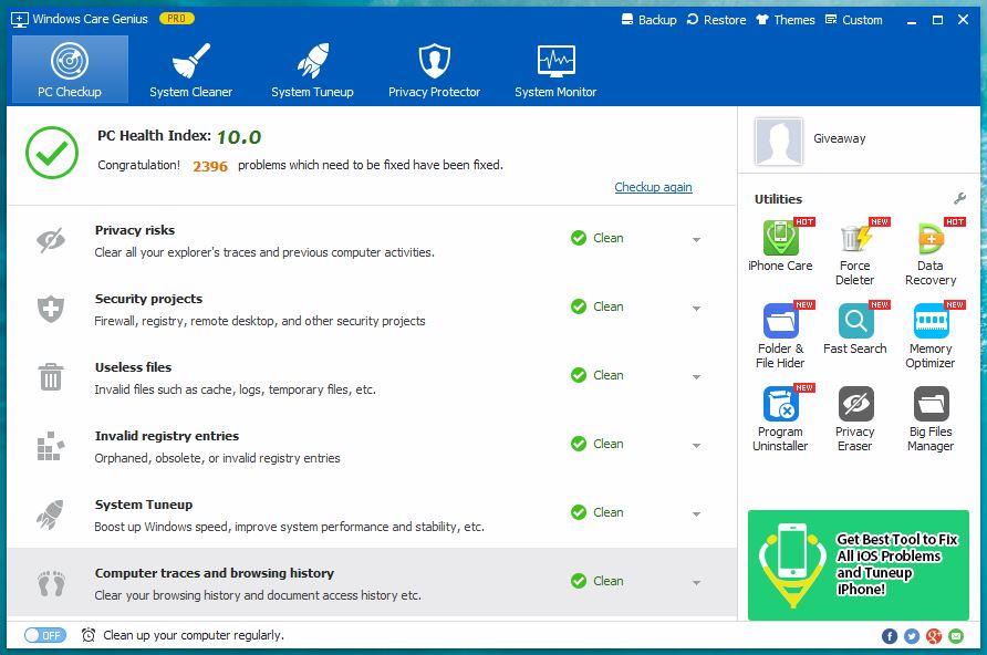 Windows Care Genius - PC Checkup - Technig