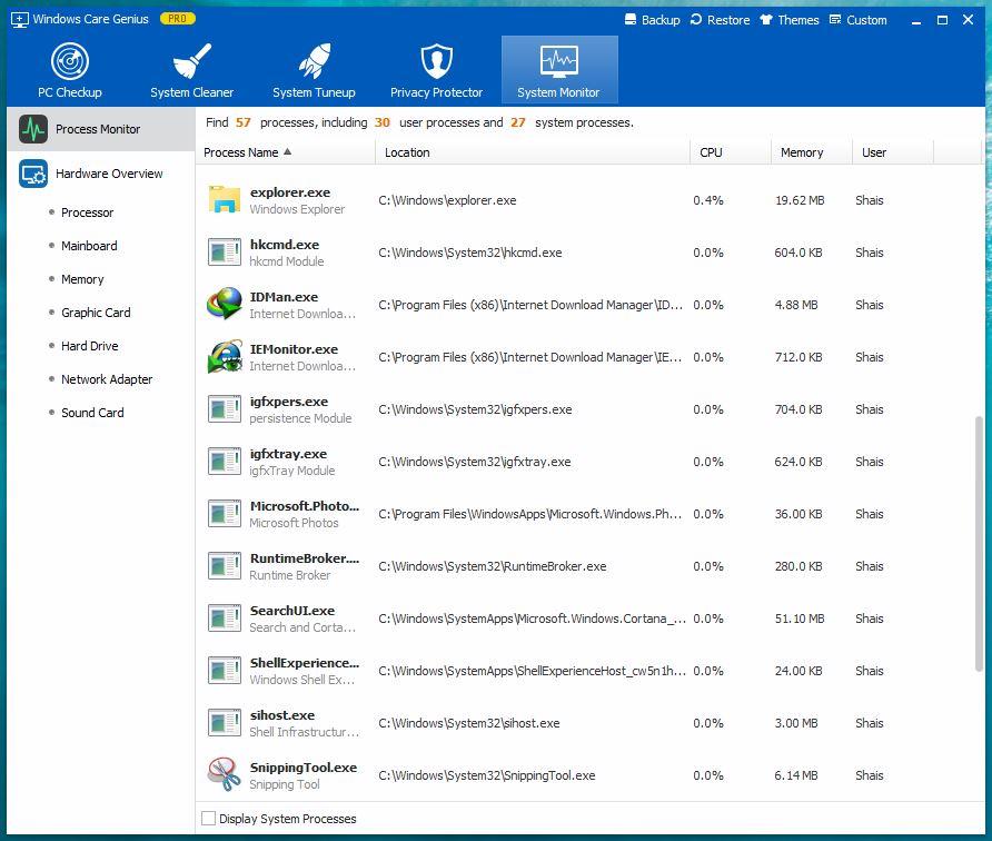Windows Care Genius - System Monitor