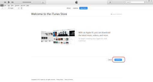 Creating Apple ID - Click Continue