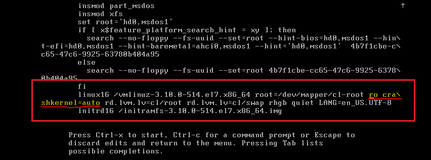 Edit CentOS Linux Boot Loader File