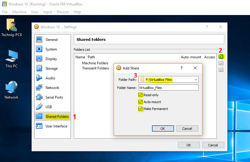 Enable File Sharing Between VirtualBox and Host Windows