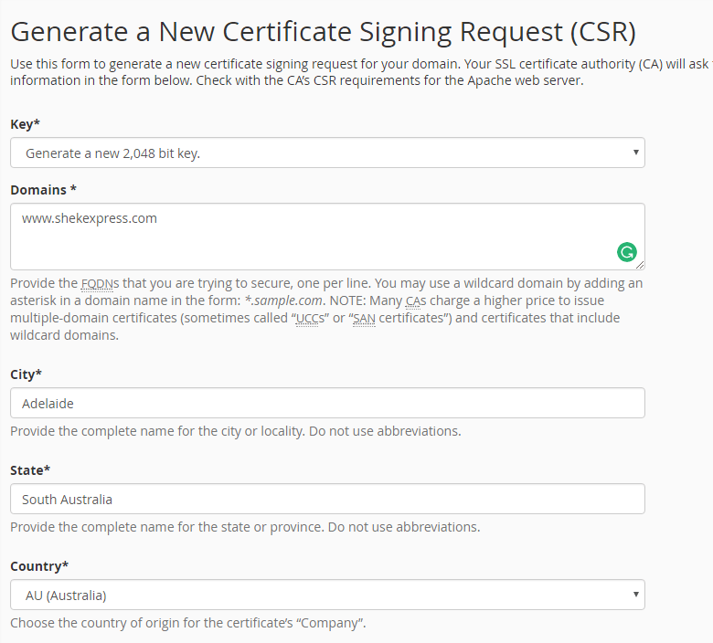 Generate a New Certificate Signing Request (CSR) - Technig