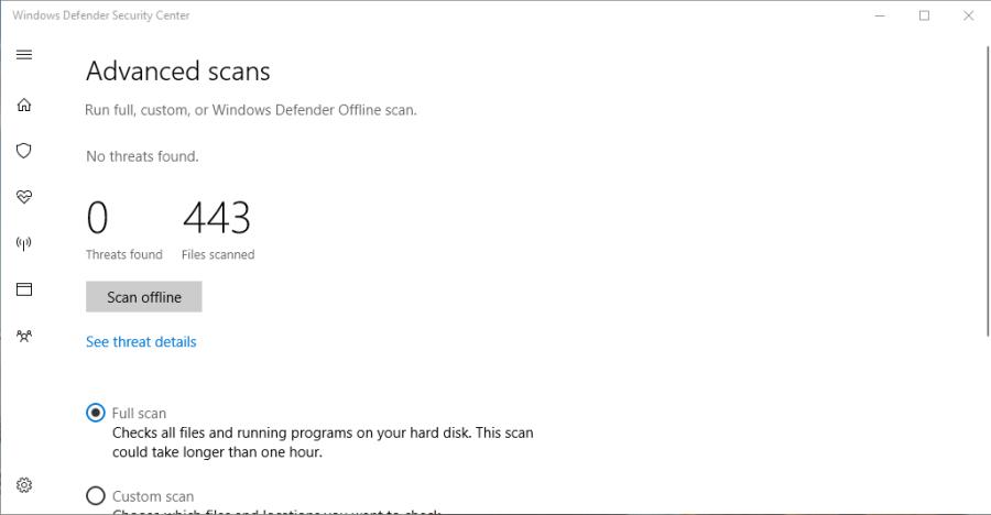 Windows Defender Security Scanning Results