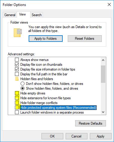 Windows Folder Options - Show Windows Hidden Files