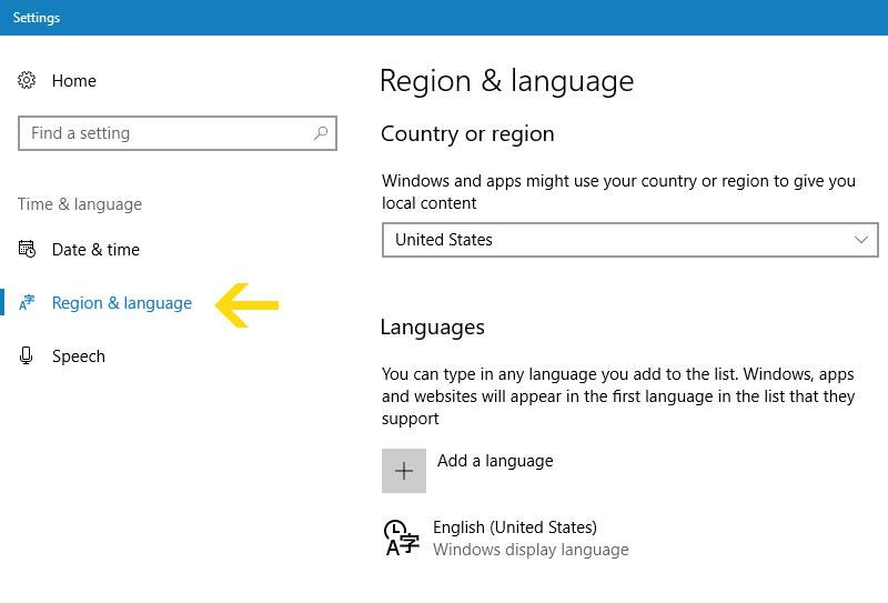Region & Language settings - Technig
