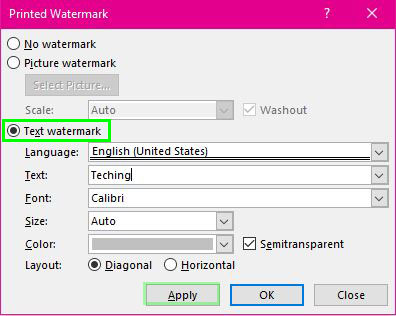 add watermark to word - Technig