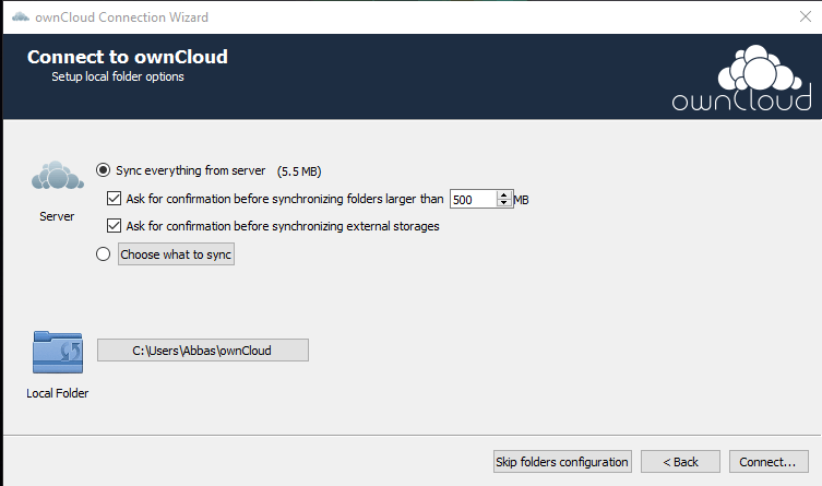 OwnCloud Sync Settings - Cloud Storage Server - Technig