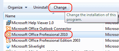 Change Word 2010 Install