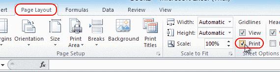 Excel enable printing of gridlines