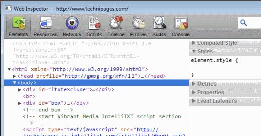 Safari Web Inspector screen