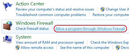 Win7 Allow a program through Windows Firewall link