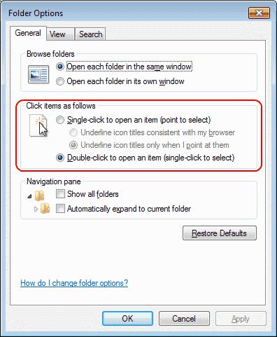 Win7 single click settings