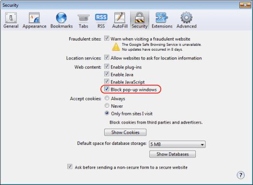 Safari popup blocker setting