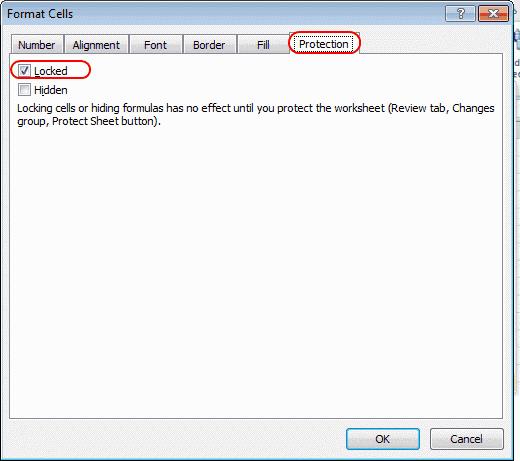 Excel locked setting