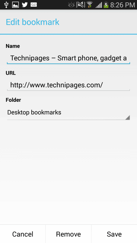 Chrome Android modify saving bookmark
