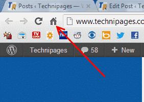 Google Chrome Home button