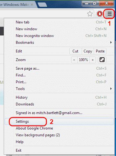 Google Chrome Menu Settions option