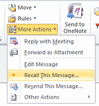 Recall option in Outlook 2010