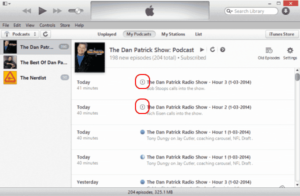 Exclamation Mark Shown on Podcasts