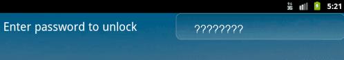 Android screen lock password