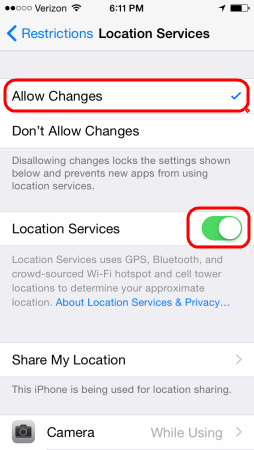 iOS Location Services Restrictions