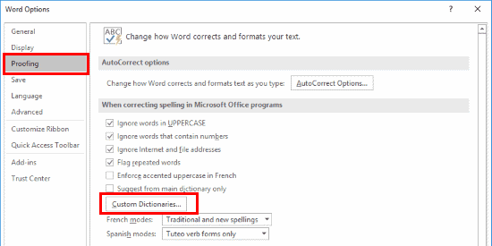 Word 2016 Custome Dictionaries button - www.office.com/setup