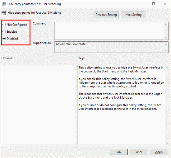 Windows Hide entry points for fast user switching
