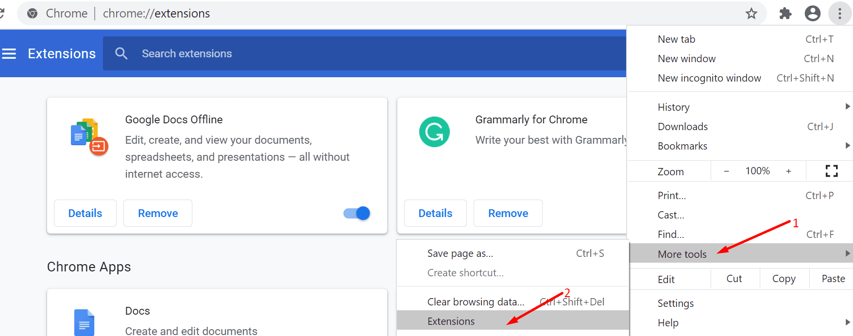 google chrome more tools extensions