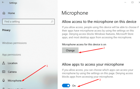 enable microphone access windows 10