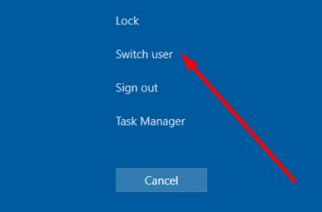 ctrl alt del switch user windows 10