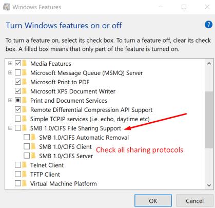 enable sharing protocols windows 10