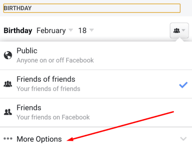 facebook birthday more options