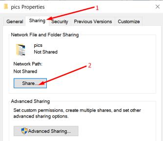 folder sharing options