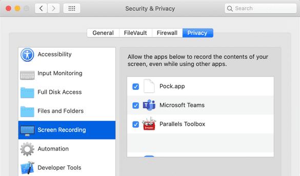 microsoft teams screen sharing enabled mac