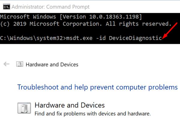 run hardware troubleshooter windows 10