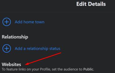 facebook add link in bio