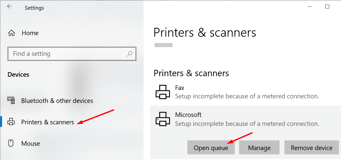 printer open queue