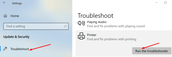 run printer troubleshooter pc